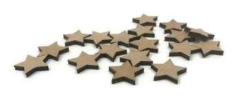 Wooden Plywood 35mm Stars, 25-100 Quantity 4mm Thick