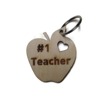 Personalised Keyrings Wooden Apple