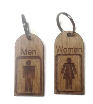 Personalised Keyrings Wooden Man/Woman (Pair)
