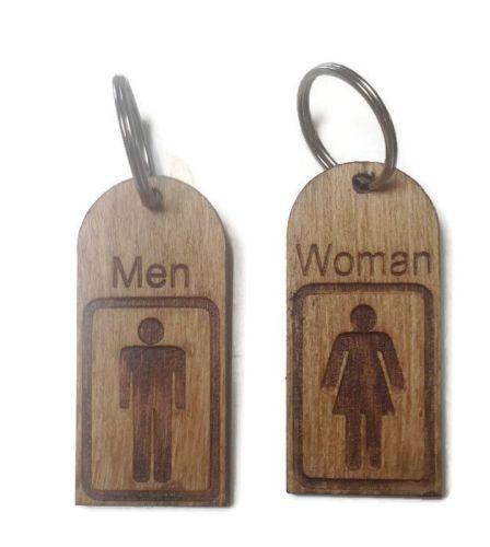 Personalised Keyrings Wooden Man/Woman (Pair)