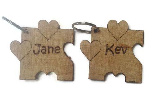 Personalised Keyrings Wooden Jigsaw Name (Pair)