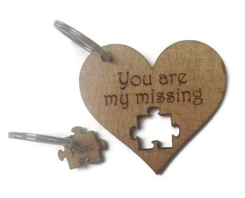 Personalised Keyrings Wooden Missing Piece (Pair)
