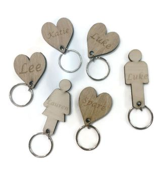 Personalised Keyrings / Spare Keyrings for Key Holders Birch Plywood