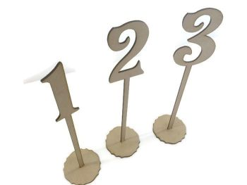 MDF Wooden Wedding, Party Standing Table Numbers, Victorian Font