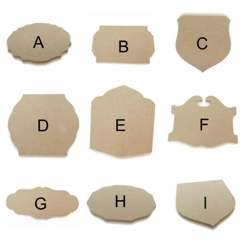 MDF Wooden Plaques, Variety of Shapes & Sizes 6mm Thick