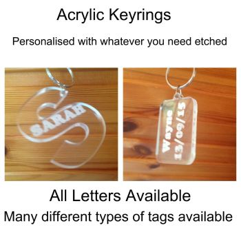 Personalised Acrylic Plastic Keyrings, Any Text Available 5mm Clear Acrylic Perspex