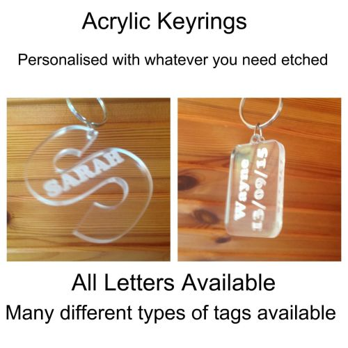 Personalised Acrylic Plastic Keyrings, Any Text Available 5mm Clear Acrylic