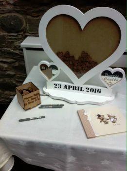 Alternative Wooden MDF Heart Shape Guestbook Dropbox Wedding Birthday Painted