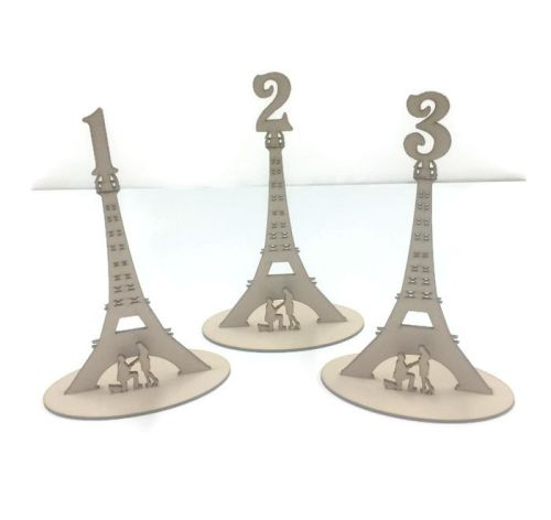 MDF Wooden Wedding, Party Standing Table Numbers, Eiffel Tower Style