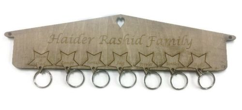 Personalised Wooden Key Holder Stars Wall Mounted Birch Plywood Any Letteri