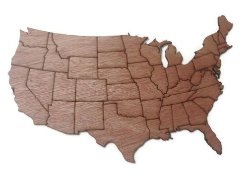Countries Of The World, Wooden Plywood Plaques, USA