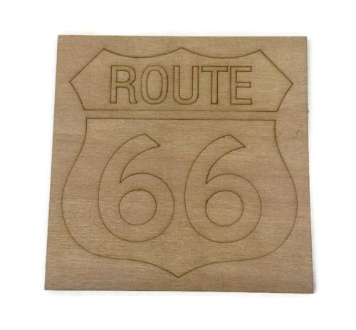 Wooden Plywood Engraved Quotes / Names - Route 66