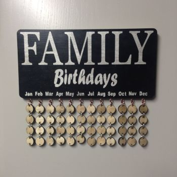Family Birthday Reminder Plaque Board Calendar Birch Plywood Painted & Varnished