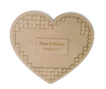 Wooden Heart Shape MDF Jigsaw Puzzle Guestbook Wedding Birthday 190 pieces