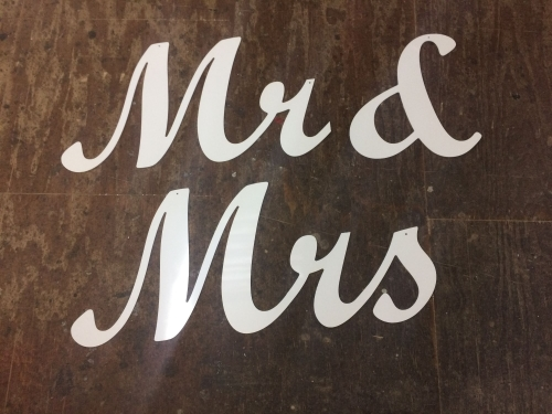 White PVC Plastic Joined Script Letters Various Sizes Weddings Birthdays Ro
