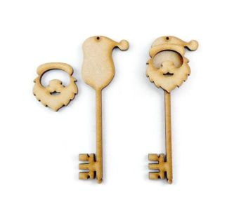 3D Style Santa Key 150mm high, made from 3mm MDF Sold in packs of 10