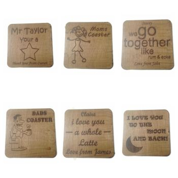 Novelty Wooden Cup Holders Coasters Personalised Present Birthday High Quality