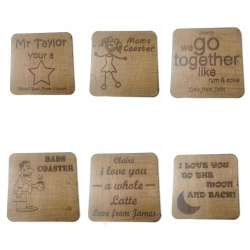 Novelty Wooden Cup Holders Coasters Personalised Present Birthday High Qual