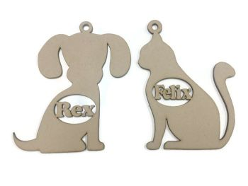 MDF Wooden Custom Personalised Dog Cat Shape Name Tag Bauble Hanging 3mm MDF