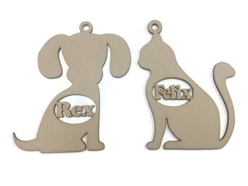 MDF Wooden Custom Personalised Dog Cat Shape Name Tag Bauble Hanging 3mm MD