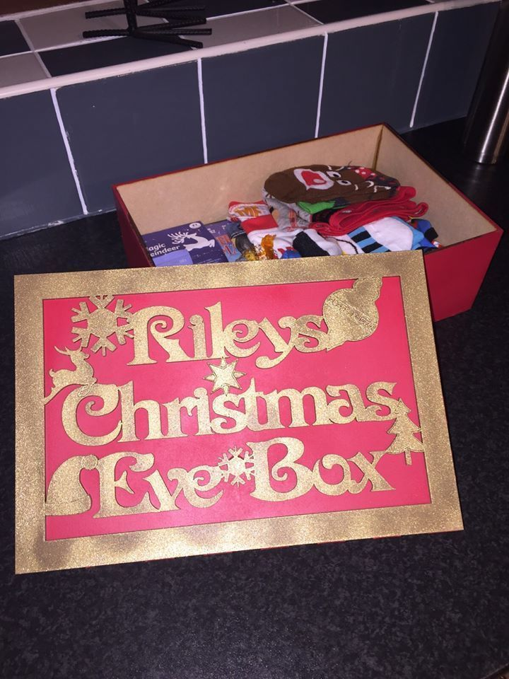 Wooden Personalised Painted Christmas Eve Xmas Eve Boxes MDF With Removable