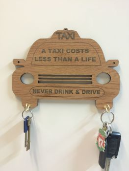 Oak Finish Varnished Taxi Key Holder Wall Mounted, 6mm Thick