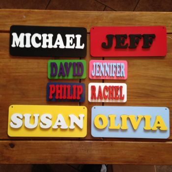 3D Children's door plaque, personalised name, wall art personalised Painted