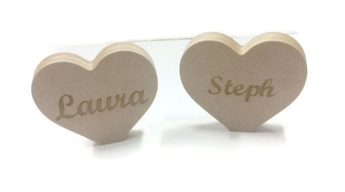 Personalised Etched Heart Freestanding Shape 25mm Thick MDF