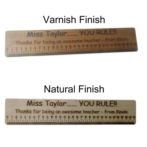 Personalised Ruler High Quality Birch Plywood 30cm Long Teacher Present Any