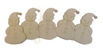 5x Wooden MDF Snowman Shapes