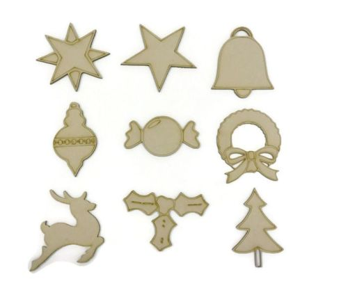 Wooden MDF 9 x Christmas Shapes
