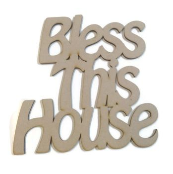 Wooden MDF 'Bless This House' Plaque
