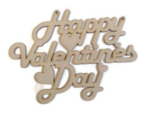 Wooden MDF 'Happy Valentines Day' Plaque