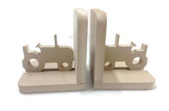 Wooden Pair Bookends - Tractor