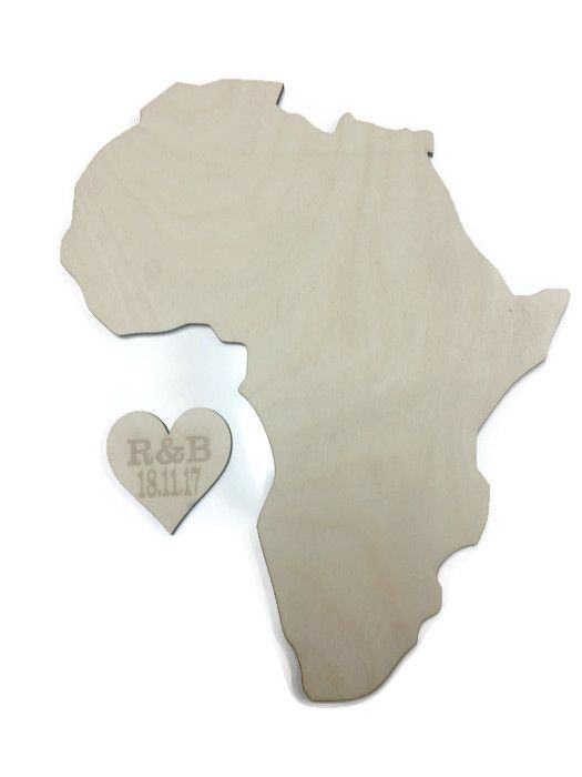 Countries Of The World, Wooden Plywood Plaques, Africa Continent With Heart