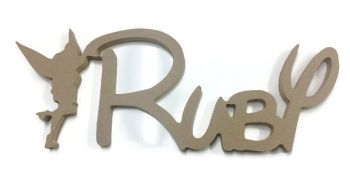 FREESTANDING MDF Wooden Tinkerbell Disney Custom Name Plaque 150mm/15mm