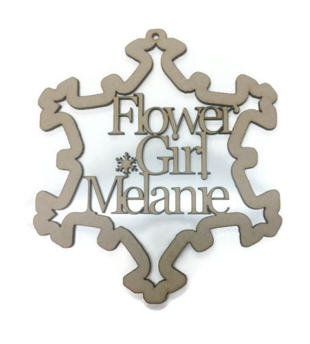 Wooden MDF Personalised Babys Bauble, Name 3mm Thick Snowflake