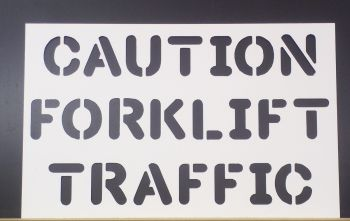 Custom PVC Floor / Wall / Pavement / Doors / Concrete Stencil Signs Airbrush (CAUTION FORKLIFT Sign)