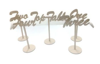MDF Wooden Standing Table Numbers, Script Font
