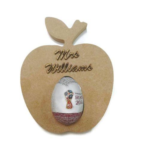 Freestanding MDF Kinder or Creme Egg Holders - Apple With Name