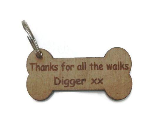 Personalised Keyrings Wooden Bone With Personalised Writing