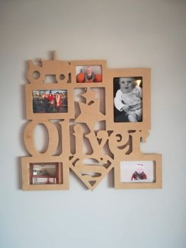 Personalised Photo Frame Children Baby Boy Girl MDF Wooden Any Size Any Type - UNPAINTED