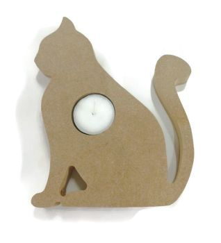 Wooden MDF Candle Holder 18mm Thick - Cat