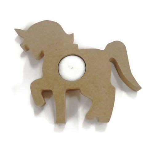 Wooden MDF Candle Holder 18mm Thick - Unicorn
