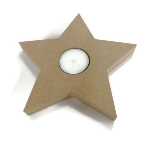 Wooden MDF Candle Holder 18mm Thick - Star