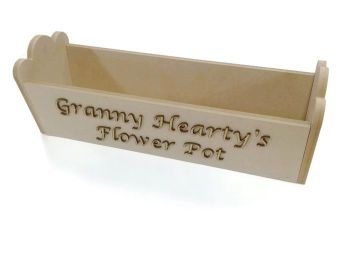 Personalised Wooden MDF Flower Plant Pot Holder Box Any Lettering Required - UNPAINTED
