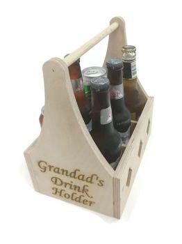 Personalised 6 Pack Beer Holder - Birch Plywood - Unvarnished
