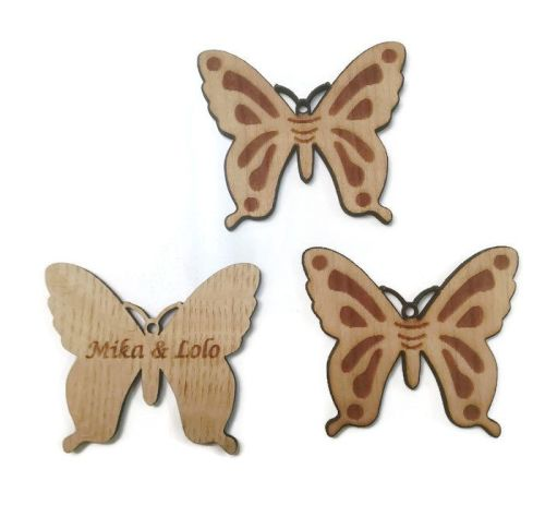 Personalised Keyrings Wooden Butterfly Engraved Back