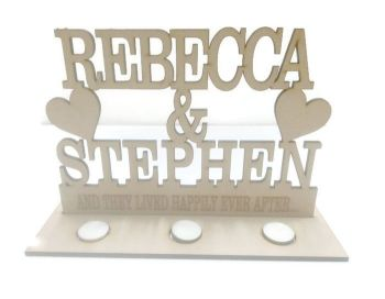 MDF Personalised Etched Wedding Stand With Candle Holders