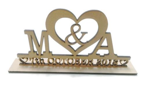 MDF Personalised Heart With Date Wedding Stand